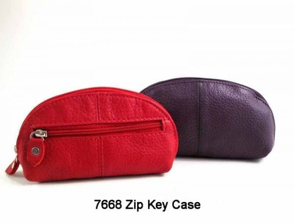 Real leather Zip-round key case