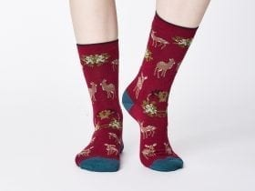 Women's Bamboo Socks SPW331 Renko Socks Cranberry