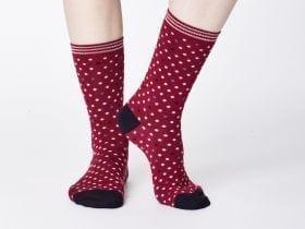 Women's Bamboo Socks SPW333 Niven Socks Cranberry