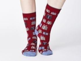 Women's Bamboo Socks SPW342 Gift Socks Cranberry